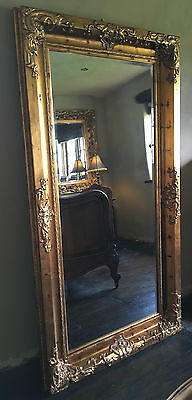 Antique Gold Ornate Large French Swept Over Mantle Statement Wall Mirror 4ft