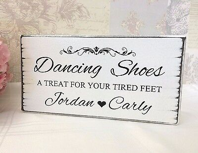 Wedding Sign DANCING SHOES Flip Flops Personalised Chic Shabby Vintage