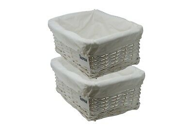2 x 100% Eco-Friendly White Wicker storage Basket  - Medium - 9364-MWT-2PK