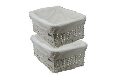 Wicker storage Basket Medium Eco-Friendly White with Lining Pack of 2