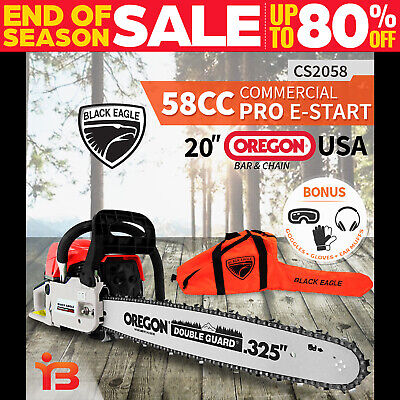"NEW Black Eagle 58cc Commercial Petrol Chainsaw E-Start 20"" OREGON Bar Chain Saw"