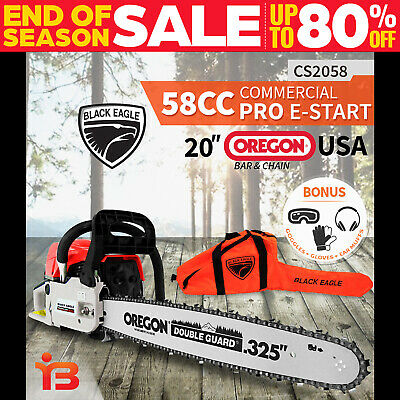 "New 58Cc Petrol Chainsaw 20"" Oregon Bar & Chain, Heavy Duty, Powerful Chain Saw"