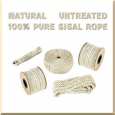 Natural Sisal Rope Twisted Braided Decking Garden Pets Cats Crafts size:6mm-30mm