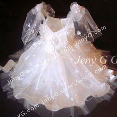#351 Flower Girls/Communions/Party/Holiday/Pageant Gowns Dress, Ivory 0-5 Years