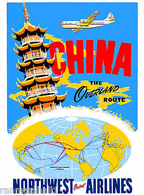 China Chinese Airplane Asia Asian Vintage Travel Art Poster Advertisement