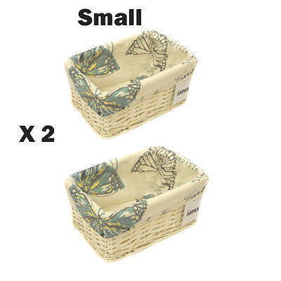 2 x 100% Butterfly Eco-Friendly White Wicker storage Basket -Small 9364-SBT-2PK