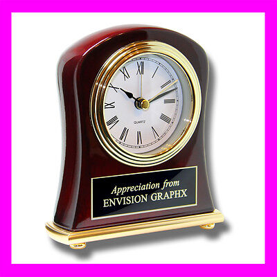 Personalized Custom Engraved Rosewood Bell Shaped Desk Clock Executive Gift K