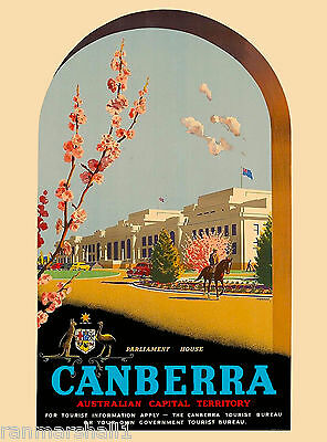 Canberra Australia Australian by Air Vintage Travel Advertisement Art Poster