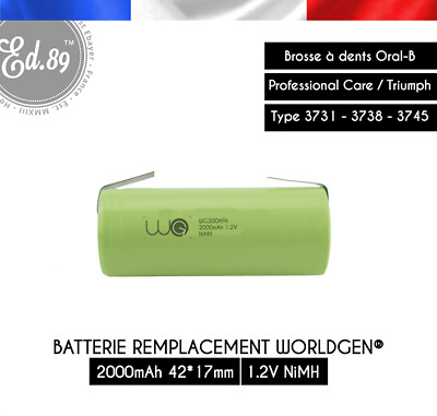 Batterie Remplacement 2000mAh Oral B Professional Care Triumph 3731 3738 3745