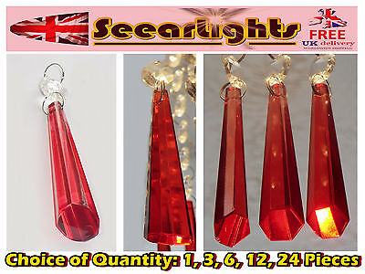 Chandelier Light Cut Glass Crystals Icicle Red Prisms Droplets Beads Spare Parts