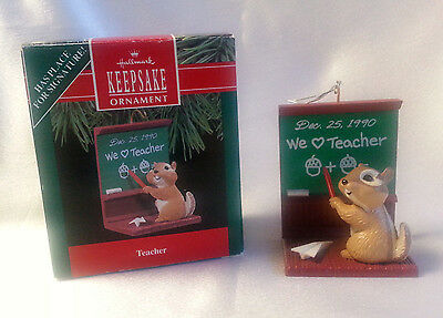 Teacher Christmas Ornament Hallmark Keepsake Chipmunk Original Box Year 1990