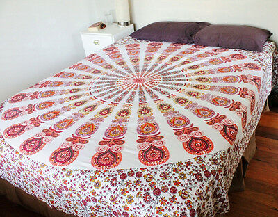 White Mandala Throw Indian Bedspread Queen Tapestry Wall Hanging Hippie Boho Art