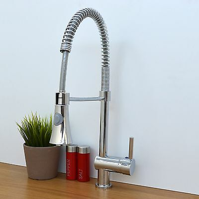 ENKI Modern Pull Out Kitchen Sink Mixer Tap Spring Neck Tall Black New SLINKY