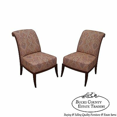 Quality Pair of Slipper Chairs w/ Ralph Lauren Upholstery