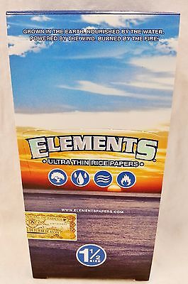 Full Box 25 Packs Elements Ultra Thin Rice 1 1/2 Cigarette Rolling Papers 1.5