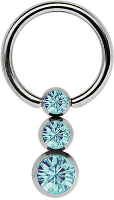 Titan Intimate Piercing Jewellery Bcr Ring in 1,2mm with Triple Stone Ball In