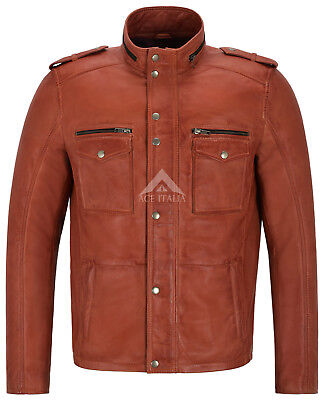 Men's Leather Jacket Chestnut Reefer Biker Style Zipped Cuff Leather Jacket 5540