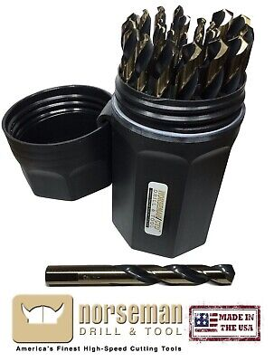 66820 Norseman / Viking SPM-29P 29 Piece Drill Bit Set w/ flats on the shank USA