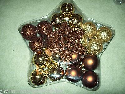 Christmas Ornaments 24 Count Silver Gold & Bronze Balls & Bronze Snowflakes