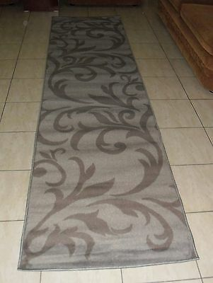 New Grey Modern Hallway Floor Runner Rug 80X300Cm