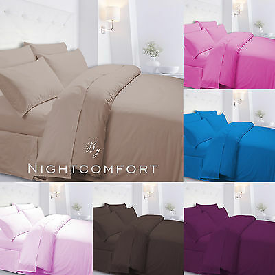 Plain Dyed Duvet Quilt Cover Set With Pillow Cases Single Double King Superking