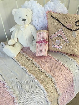 Shabby Chic Girls Georgia Vintage Ruffle Cot Quilt / Blanket Cushion & Wrap