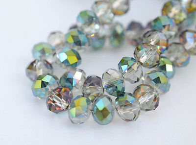 100pcs RONDELLE FACETED GLASS CRYSTAL BEADS 6mm COLOURFULL jewellery making