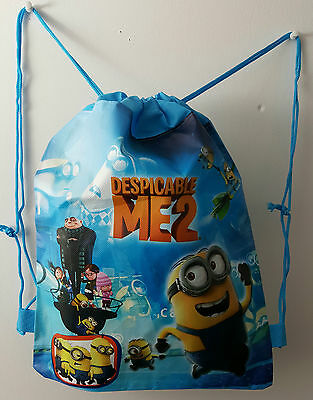 Despicable Me Minion Dave String Gym School Bag Travel Kids PE Swimming Blue
