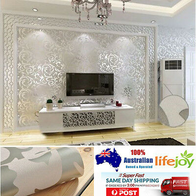 10M Wallpaper European Style Silver 3D DAMASK EMBOSSED Textured Wallpaper Roll