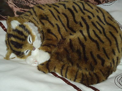 Realistic Life-Like Tabby Sleeping Cat Fooled Many People- House Trained -White