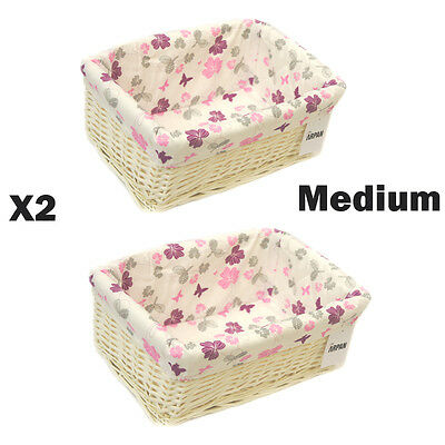 2 x 100% Purple Eco-Friendly White Wicker storage Basket Medium 9364-MPE-2PK