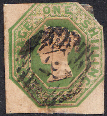 GB QV 1847 1s 1/- Green SG55 Embossed Issue Average / Good Used
