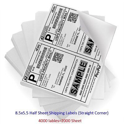4000 Self Adhesive Mailing Shipping Labels 2 Labels Per Sheet For Laser Ebay UPS