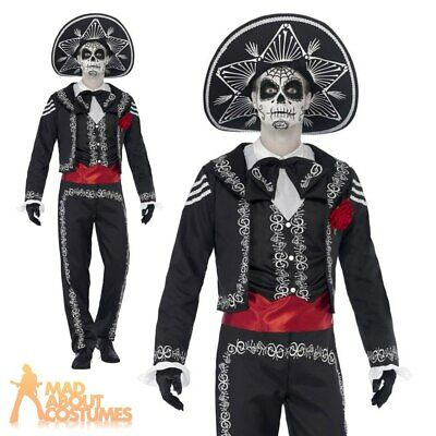 Adult Senor Bones Costume Day of the Dead Skeleton Fancy Dress Halloween Outfit