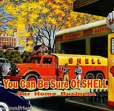 Shell Petrotleum Gas Station Art Deco print ad Poster antique 1940s