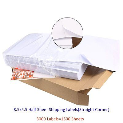 3000 Laser Half Sheet Shipping Labels Self Adhesive 8.5 x 5.5 For USPS UPS Ebay