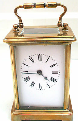"French Brass Case Enamelled Face Carriage Clock Timepiece GWO 4.25""H 3.25""W"