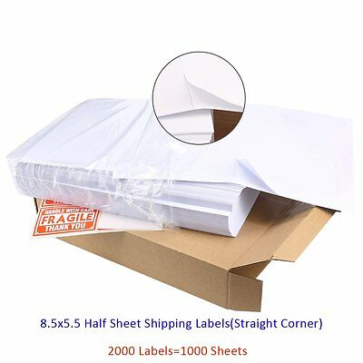 2000 8.5x5.5 Half Sheet Shipping Labels 2/Sheet Self Adhesive For Laser Printer