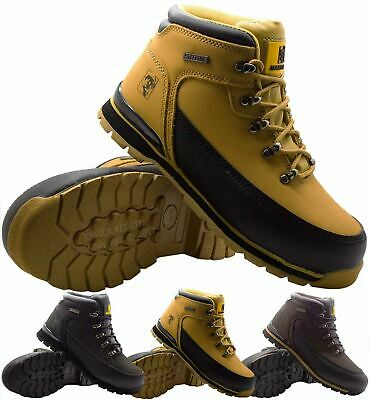Mens Maxsteel Leather Safety Work Boots Steel Toe Cap Ankle Hiker  Shoes Size