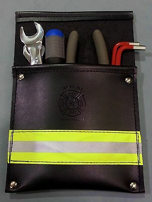 Sav-A-Jake Firefighter Leather Pocket Tool Pouch w/3M Yellow Reflective Stripe