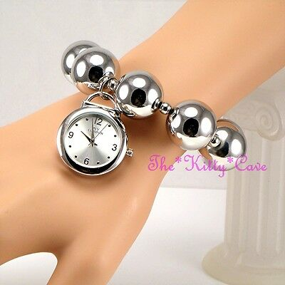 Designer Silver Rhodium Plt Big Chunky Ball Beads Boho Cuff Bracelet Charm Watch