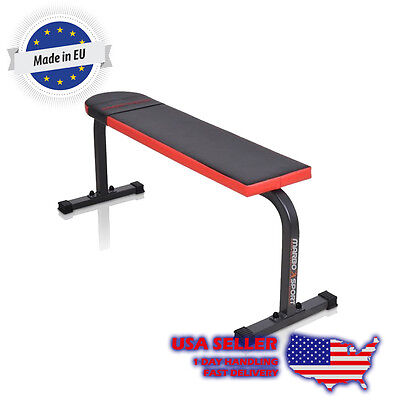 Marbo Sport Flat Exercise Lifting Bench for Rows, Smith Machine, Dumbbells