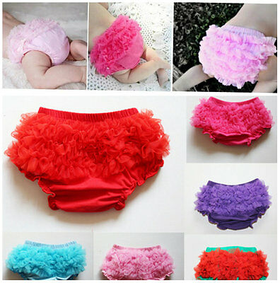 new Baby Infant Girls lace Ruffle Panties Briefs Diaper Cover Pants 0-18 months
