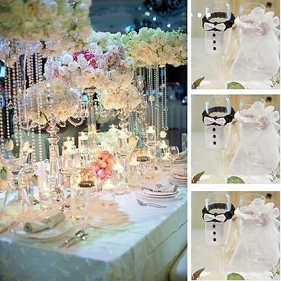 BRIDE&GROOM Wedding Wine Glasses Decoration Lace Toasting Cover Beauty Decor Y2