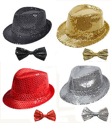 Sequin Glitter Sparkly Gangster Trilby Hat+Dicky Bow Tie Set Fancy Dress Outfit