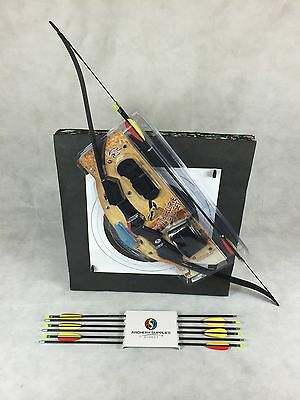 ASD Archery Black Youth 20 lbs Recurve Bow Set Package with 8 Arrows & Boss