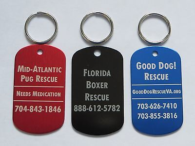 Lot of 50 Pet Rescue Tags for Cats and Dogs - Free Engraving - Not For Profit