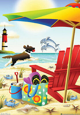 """Forever By the Seaside House Flag Summer Adirondack Dolphin Beach 28"""" x 40"""""""