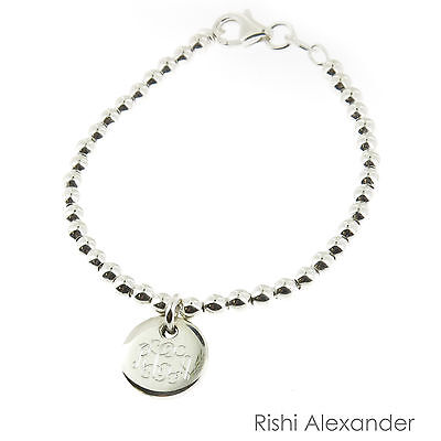 925 Sterling Silver Monogram Personalized Baby Child Size Ball Bead Bracelet