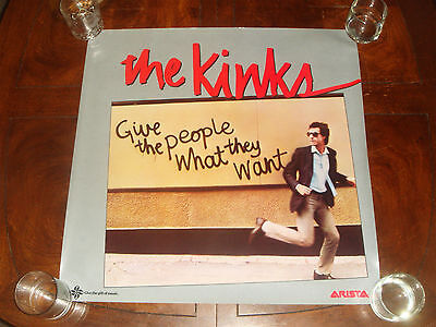 """Rare THE KINKS """"Give The People What They Want"""" 1981 ARISTA RECORDS PROMO POSTER"""